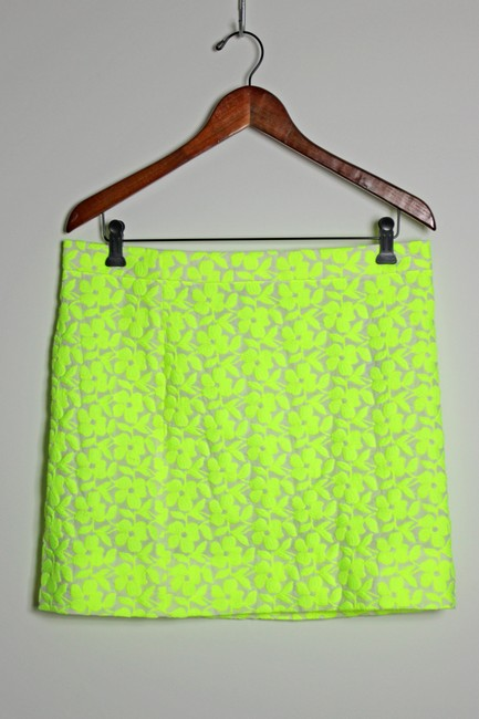 J.Crew Woven Embroidered Lined Mini Skirt Green Image 4
