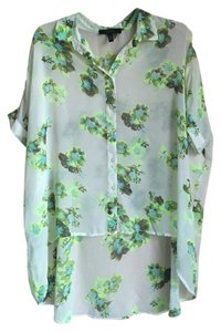 Jessica Simpson Button Down Shirt Neon Floral