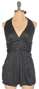 Jaloux Polka Dot Halter Madewell Allsaints Theory Top BLACK & WHITE