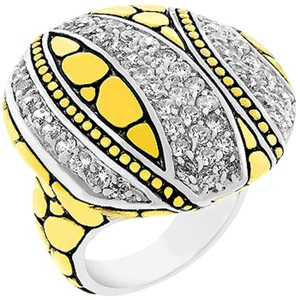 Cubic Zirconia Abstract Saucer Two-Tone Ring