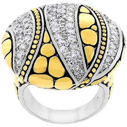Other Cubic Zirconia Abstract Saucer Two-Tone Ring Image 1