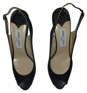 Jimmy Choo DARK GREY SNAKESKIN PRINT EMBOSSED Platforms