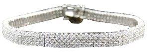 Jewelry Unlimited 14k,Ladies,White,Gold,Clear,Round,Cut,3,Row,Diamond,Tennis,Bracelet,7.20,Ct