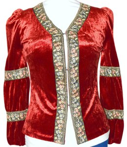 Other Velvet Renaissance Longsleeve Costume Top Red