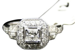 Jewelry Unlimited Ladies,14k,White,Gold,Princess,Cut,Diamond,Engagement,Halo,Wedding,Ring,1,Ct