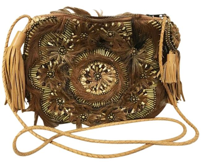 Item - Leather and Fur Embellished Cross Body Bag