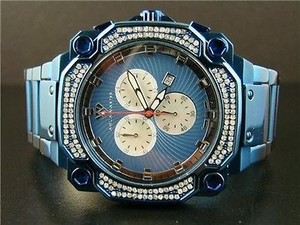 Mens Aqua Master Jojo Jojino W142 81-4 Blue Stainless Steel Diamond Watch 1.0ct
