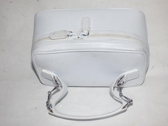 Gucci Mint Vintage Petite But Roomy Dual Zip Closure Chrome Hardware Equestrian Accents Satchel in white leather Image 11