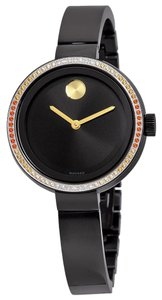 Movado Diamond Set Bezel Black Ion Plated Bezel Bangle Designer Ladies Watch
