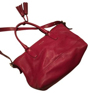 Coach Leather Silver Hardware Tote in Red