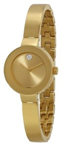 Movado Gold Stainless Steel Crystal Pave Bangle Strap Designer Watch
