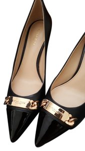 Coach Gold Hardware Leather Work Mid High Classic Black Pumps