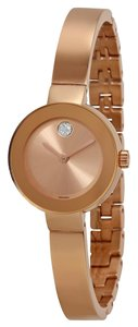 Movado Rose Gold Stainless Steel Crystal Pave Designer Bangle Watch
