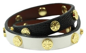 Tory Burch NEW TORY BURCH Leather Double Wrap Logo Stud Bracelet, Multicolor