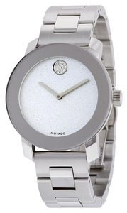 Movado Crystal Dot Silver Stainless Steel Designer Ladies Casual Watch