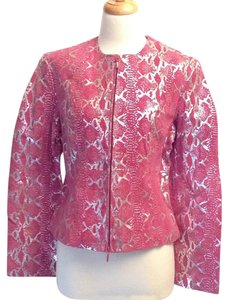 Metro Style Suede Metallic Leather Fully Lined Longsleeve Pink Leather Jacket