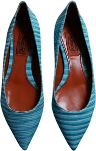 Missoni Fabric New Never Worn Ballet Point Toe Turquoise Flats