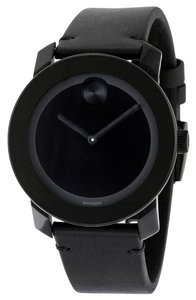 Movado Black TR90 Stainless Steel Leather Strap Unisex Designer Watch