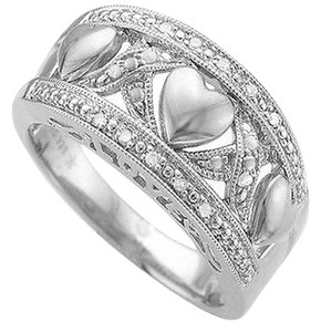 Jewelry Unlimited Ladies,Genuine,Diamond,Silver,Heart,Promise,Engagement,Proposal,Ring,Band,10mm