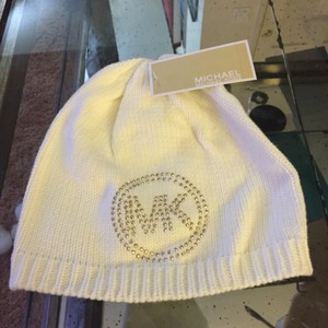 Michael Kors Michael Kors Off White with Gold Crystals MK Hat