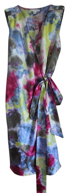 Item - Watercolor / Pink Blue Yellow Wrap Short Casual Dress Size 6 (S)