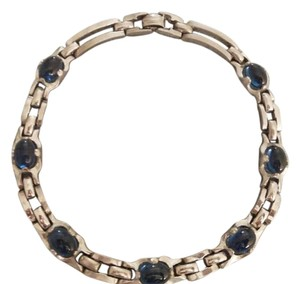 Barclay's Jewelers Barclay Vintage Silver Tone Metal with Blue Cabochon Necklace