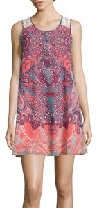 My Michelle short dress Peach, white, turquoise multi-color on Tradesy