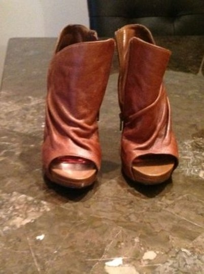 Carlos by Carlos Santana Peep Toe Rocker Boho Leather Camel Boots
