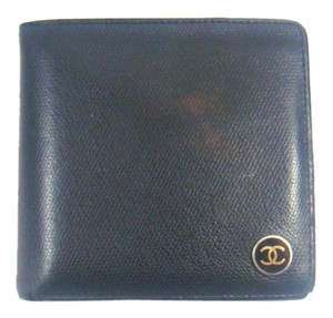 Chanel Caviar Skin Leather Bifold Mens Wallet