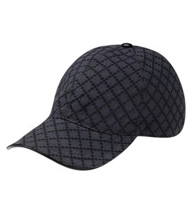 Gucci New Gucci Gray Black Diamante Canvas Baseball Hat Size XL 200035 1160
