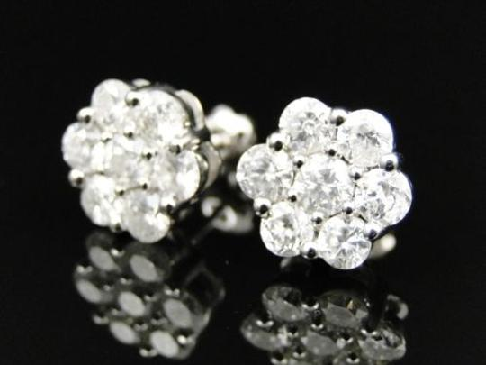 Jewelry Unlimited 14k,Mens,Ladies,11mm,White,Gold,Round,Diamond,Cluster,Flower,Studs,Earrings,2,Ct