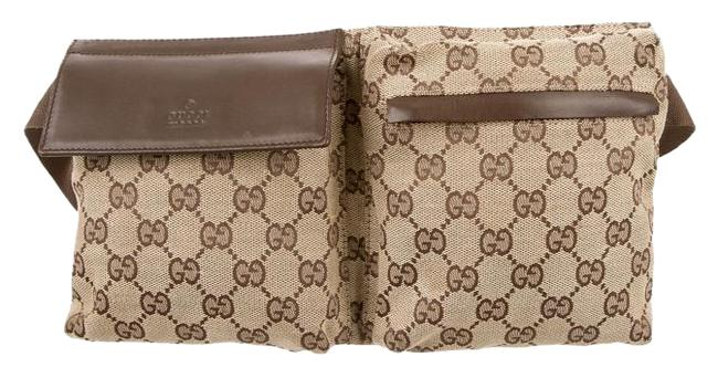 Item - Waist Gg ssima Monogram Beige Brown Silver Leather Canvas Messenger Bag