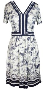 Tory Burch short dress Ivory / Blue Silk V Neck Interlocking on Tradesy