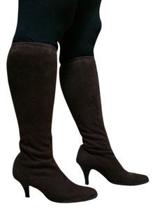 Nina Shoes Suede High Tall Pull On Brown Boots