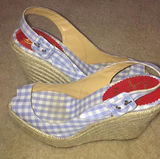 Christian Louboutin Blue and white Wedges Image 9