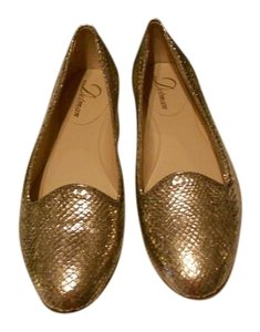 Delman Reptile Embossed Metallic Finish Made In Italy Nude Flats