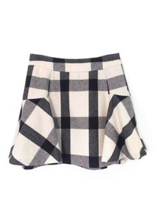 Banana Republic Holiday Wool Mini Skirt Black and White Plaid Checkered