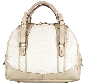 ABACO Made In France Python Snakeskin Satchel in White Beige