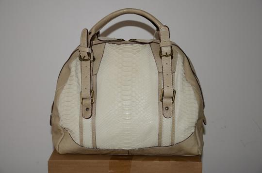 ABACO Made In France Python Snakeskin Satchel in White Beige Image 1