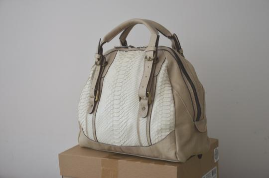 ABACO Made In France Python Snakeskin Satchel in White Beige Image 2
