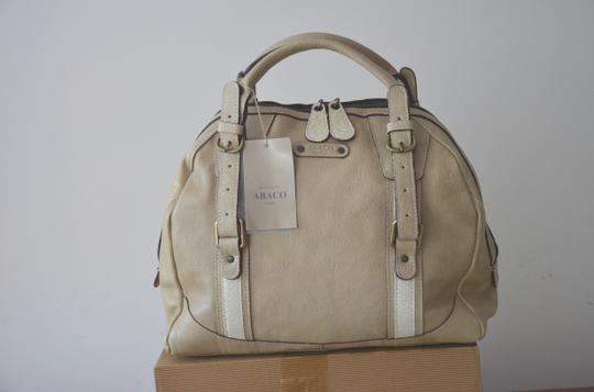 ABACO Made In France Python Snakeskin Satchel in White Beige Image 3