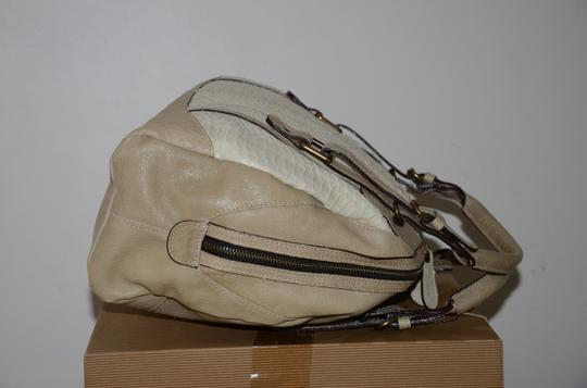 ABACO Made In France Python Snakeskin Satchel in White Beige Image 4