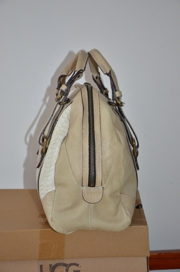 ABACO Made In France Python Snakeskin Satchel in White Beige Image 5