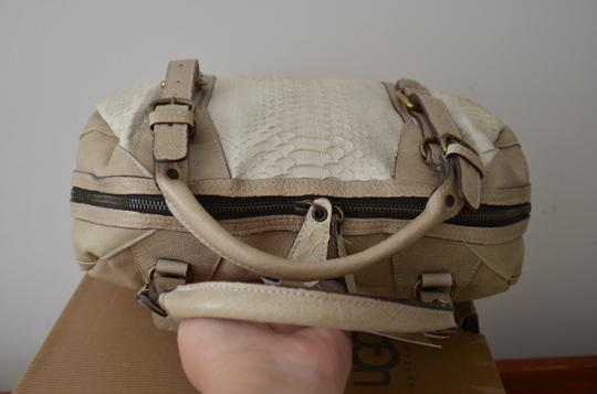 ABACO Made In France Python Snakeskin Satchel in White Beige Image 6