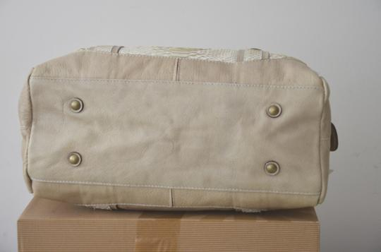 ABACO Made In France Python Snakeskin Satchel in White Beige Image 7