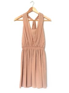 Club Monaco short dress Blush Silk Racer-back Studded on Tradesy