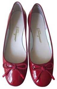 Salvatore Ferragamo Patent Lether Ballerina Ruby Red Flats