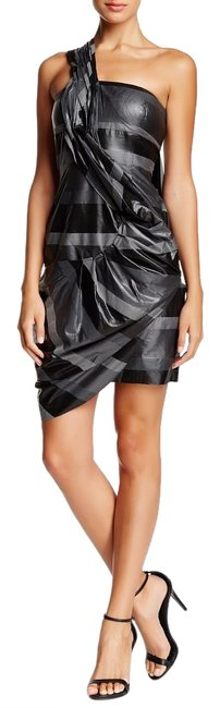 Item - L Printed One Shoulder Pinched Charcoal Above Knee Night Out Dress Size 10 (M)