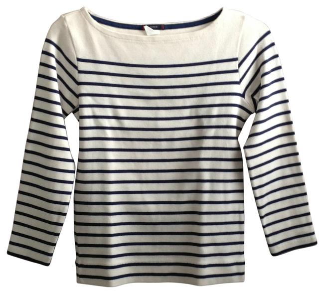 Preload https://item4.tradesy.com/images/jcrew-cream-with-blue-stripes-sweaterpullover-size-4-s-188558-0-0.jpg?width=400&height=650