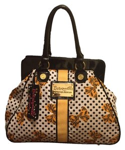 Betsey Johnson Print Tote in White, Black polka dots, yellow